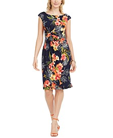 Ruched Floral-Print Sheath Dress