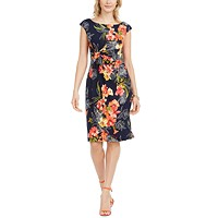 Macys deals on Connected Ruched Floral-Print Sheath Dress