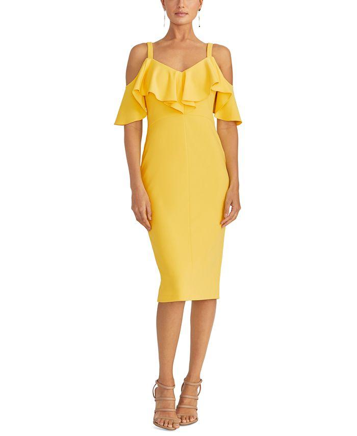 RACHEL Rachel Roy - Off The Shoulder V-Neck Ruffle Dress