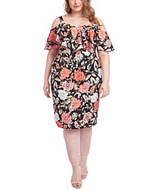 Plus Size Marcella Floral-Print Cold-Shoulder Dress