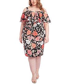 RACHEL Rachel Roy Trendy Plus Size Marcella Floral-Print Cold-Shoulder Dress