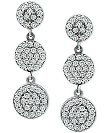 Cubic Zirconia Pavé Disc Drop Earrings in Sterling Silver, Created for Macy's