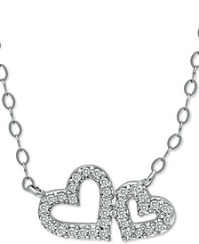 """Double Heart Pendant Necklace in Sterling Silver, 16"""" + 2"""" extender, Created for Macy's"""