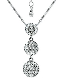 """Cubic Zirconia Pavé Disc Triple Drop Pendant Necklace in Sterling Silver, 16"""" + 2"""" extender, Created for Macy's"""