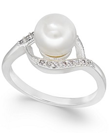 Silver-Tone Imitation Pearl & Crystal Swirl Ring, Created for Macy's