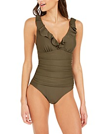 Ruffle Plunge Underwire Tummy Control One-Piece Swimsuit, Created for Macy's