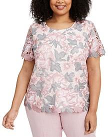 Plus Size Primrose Garden Floral-Lace Top