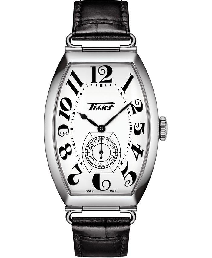 Tissot - Unisex Swiss Automatic Heritage Porto Black Leather Strap Watch 42mm