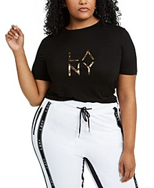 Trendy Plus Size Embellished Logo T-Shirt