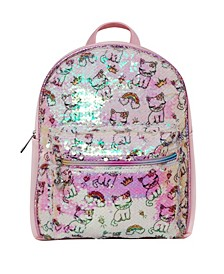 Toddler, Little and Big Kids Bella Kitty Bling Print Sequins Mini Backpack