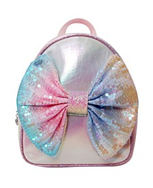 Toddler, Little and Big Kids Metallic Mini Backpack with Sequins Ombre Bow
