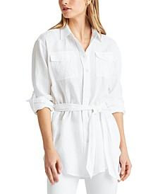 Petite Tie-Waist All Linen Shirt