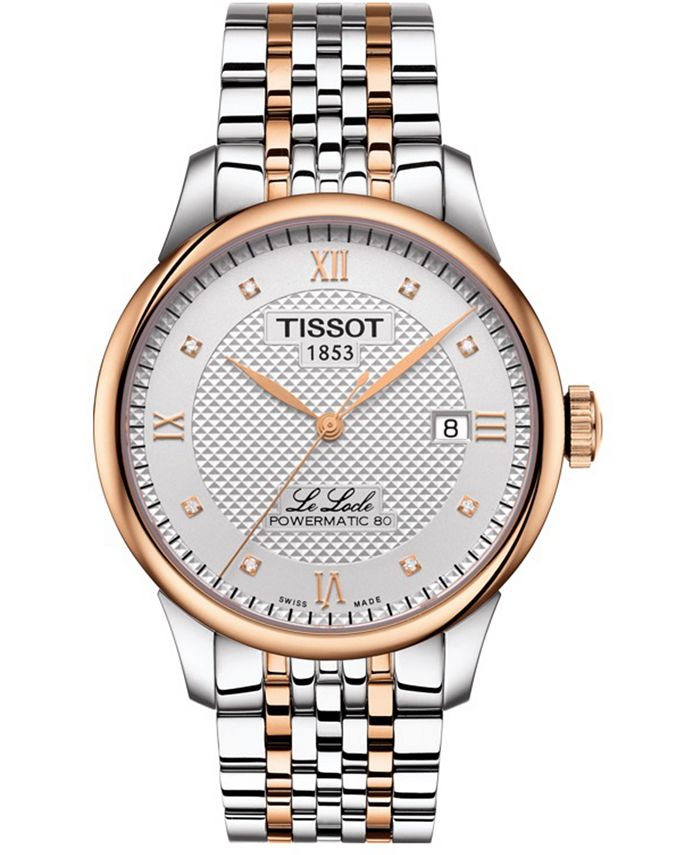 Tissot - Unisex Swiss Automatic T-Classic Le Locle Powermatic 80 Diamond (1/20 ct. t.w.) Two-Tone Stainless Steel Bracelet Watch 39mm