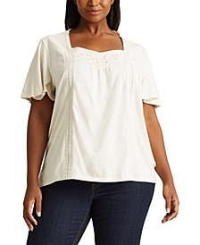 Plus-Size Jersey Flutter-Sleeve Top