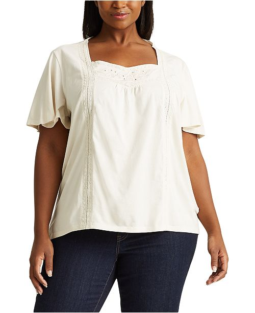 Lauren Ralph Lauren Plus-Size Jersey Flutter-Sleeve Top