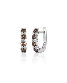 Vanilla Diamonds® (1/20 ct. t.w.) and Chocolate Diamonds® (3/8 ct. t.w.) Hoop Earrings in 14k White Gold