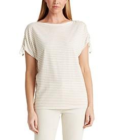 Petite Striped Linen-Blend T-Shirt