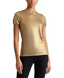 Petite Gold-Tone Short-Sleeve Top