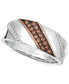 Chocolatier® Men's Diamond Diagonal Diamond Ring (3/8 ct. t.w.) in Sterling Silver & 14k Rose Gold
