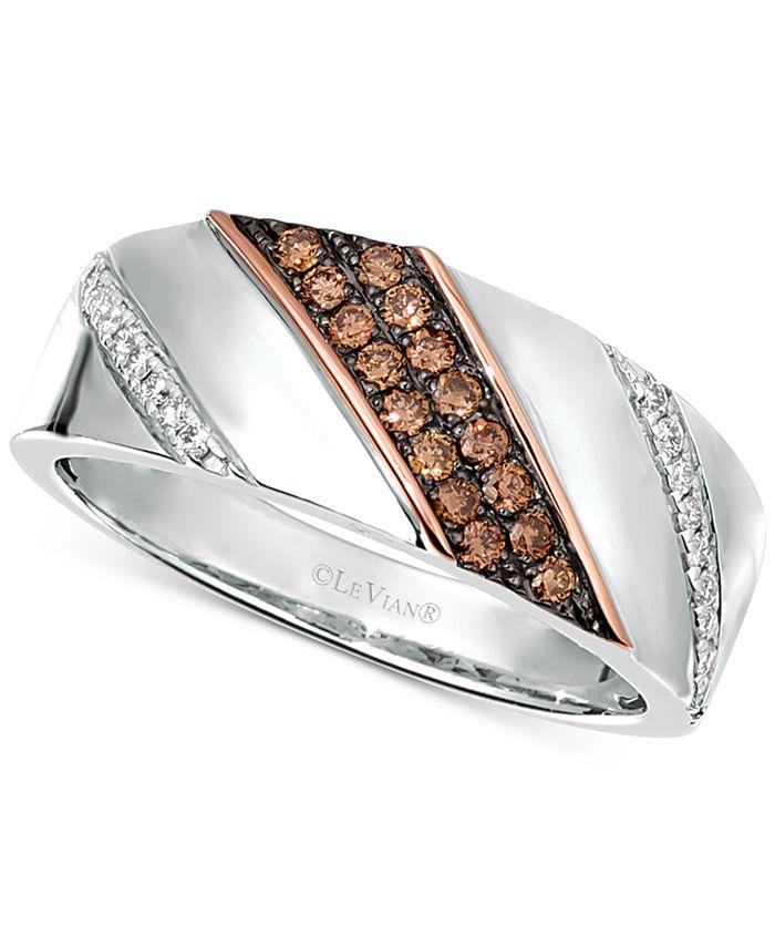 Le Vian - Men's Diamond Diagonal Diamond Ring (3/8 ct. t.w.) in Sterling Silver & 14k Rose Gold