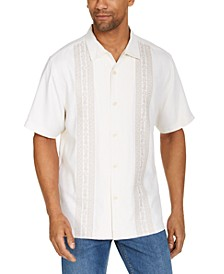 Men's Pineapple Row Classic-Fit Embroidered Silk Camp Shirt
