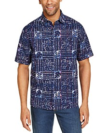 Men's Sand Dollar Classic-Fit Stretch Batik-Print Camp Shirt