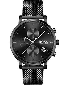 Men's Chronograph Integrity Black Stainless Steel Mesh Bracelet Watch 43mm