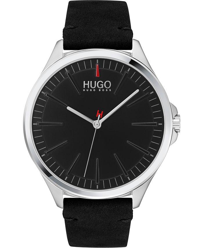 HUGO - Men's #SMASH Black Leather Strap Watch 43mm
