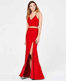 Juniors' 2-Pc. Lace-Back Slit Gown