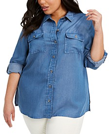 Plus Size Chambray Utility Shirt, Created for Macy's