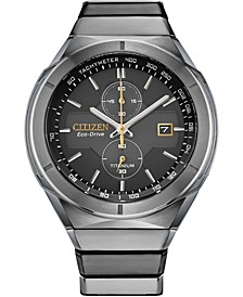 Men's Chronograph Armor Eco-Drive Silver-Tone Titanium Bracelet Watch 44mm