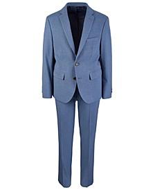 Big Boys Classic-Fit Stretch Blue/Brown Mini-Check Suit Separates
