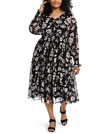 Plus Size Floral-Print Smocked Midi Dress