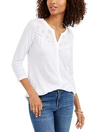 Eyelet Button-Front Top, Created for Macy's