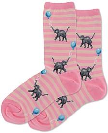 Women's Elephants With Balloons Crew Socks