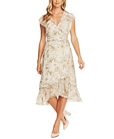 Botanical Breeze Floral-Print Faux-Wrap Dress