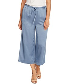 Liquid Satin Drawstring Wide-Leg Pants