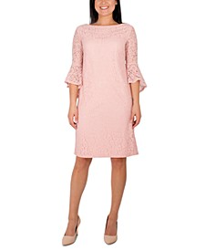Petite Bell-Sleeve Lace Dress