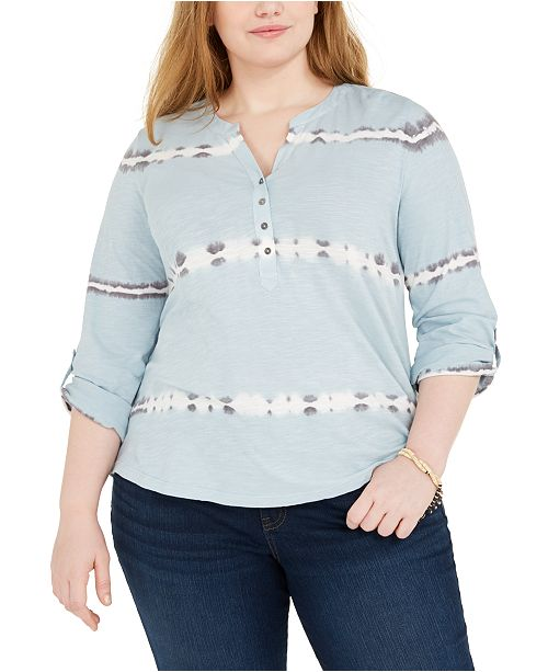 Style & Co Plus Size Tie-Dyed Cotton Top, Created for Macy's