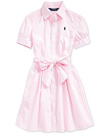 Big Girls Striped Cotton Shirtdress, Created for Macy's