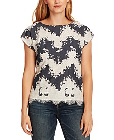 Mixed-Media Lace Blouse