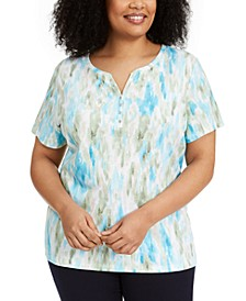 Plus Size Printed Henley-Neck Top, Created for Macy's