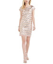 Sequined Chevron Dress