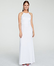 Juniors' Ladder-Side Glitter Gown