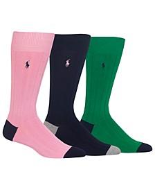 Men's Socks, Soft Touch Ribbed Heel Toe 3 Pack