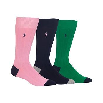 3-Pack Polo Ralph Lauren Soft Touch Ribbed Heel Toe Men's Socks