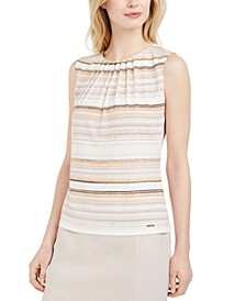 Petite Striped Pleat-Neck Top