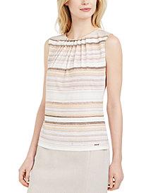 Calvin Klein Petite Striped Pleat-Neck Top