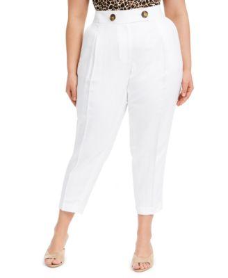 Plus Size Linen Slim-Ankle Pants
