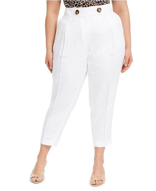Calvin Klein Plus Size Linen Slim-Ankle Pants